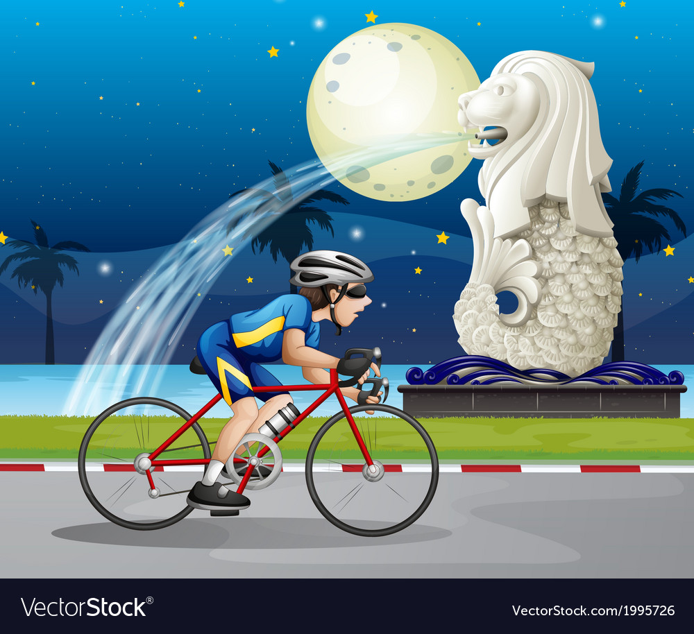 A biker passing the street with the statue of vector | Price: 3 Credit (USD $3)