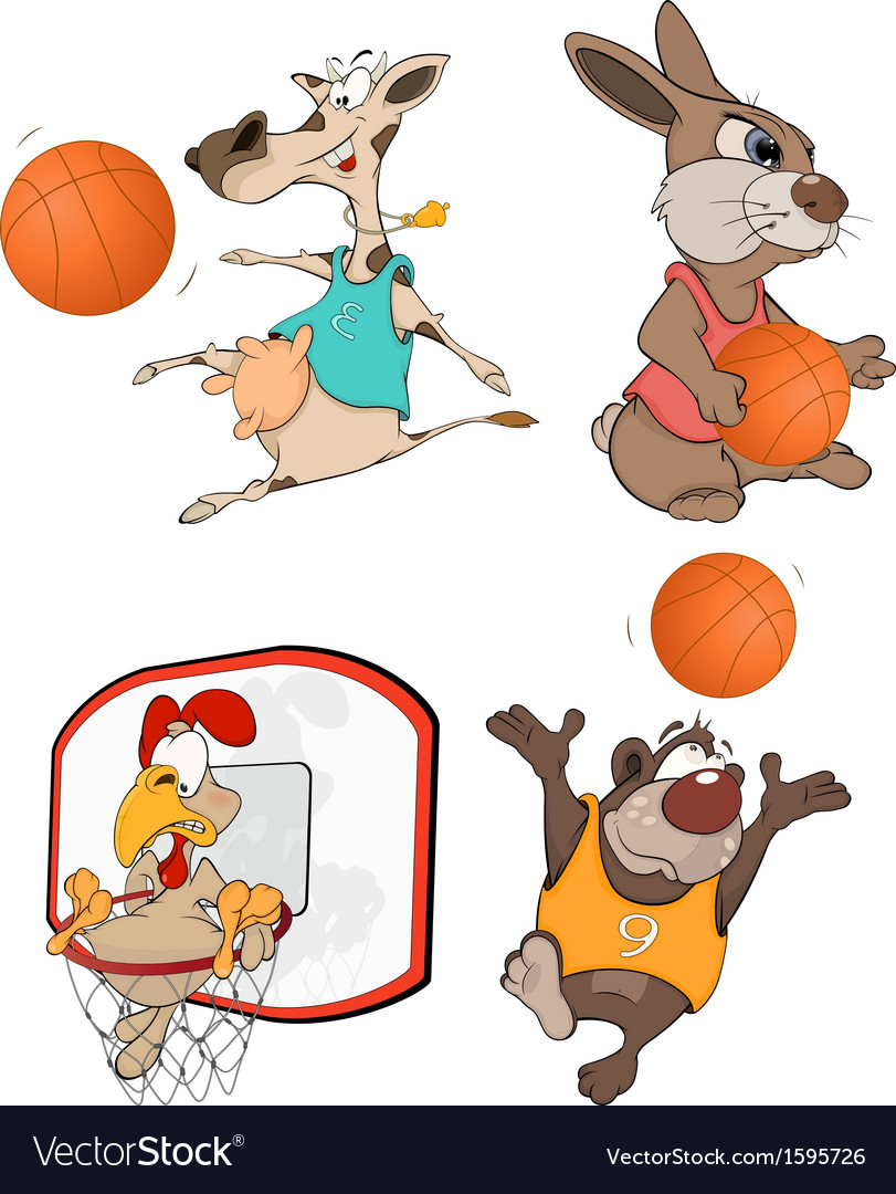 The basketball players clip art cartoon vector | Price: 1 Credit (USD $1)
