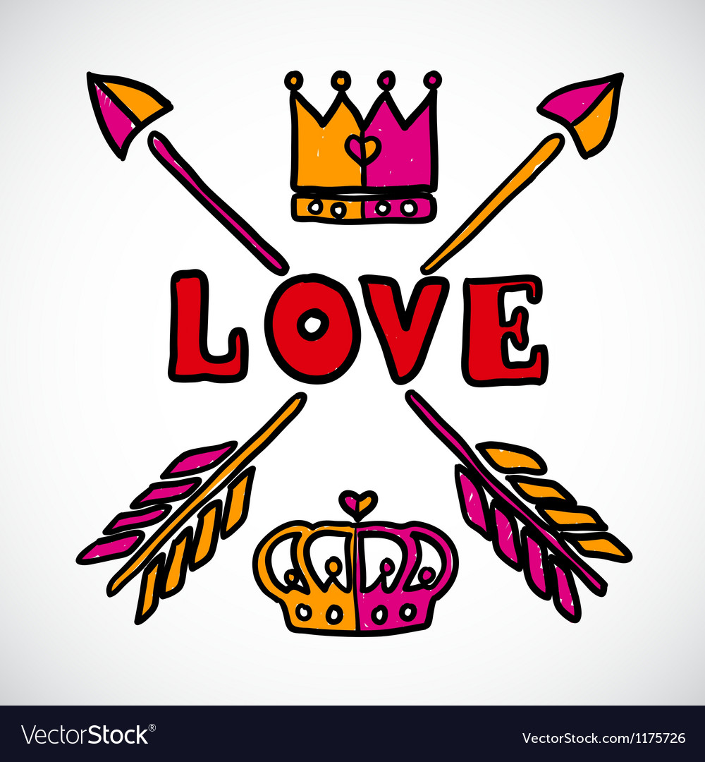 Doodle love sign with arrows and crowns vector | Price: 1 Credit (USD $1)