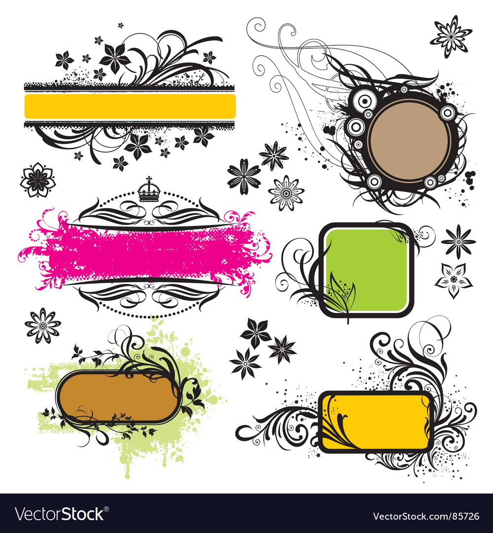 Frame and design elements vector | Price: 1 Credit (USD $1)