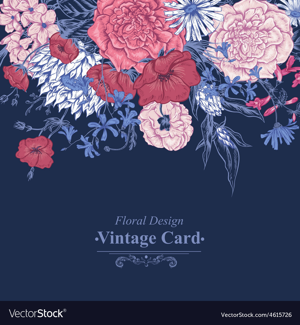 Gentle retro summer floral greeting card vintage vector | Price: 1 Credit (USD $1)