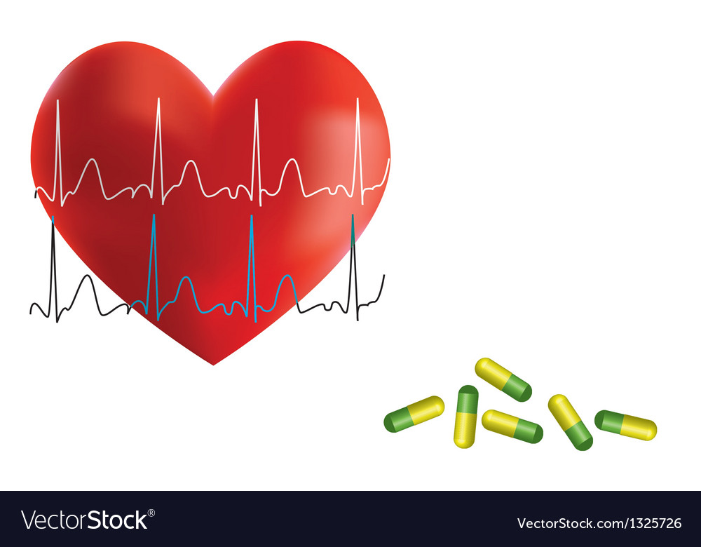 Heart ekg and medicine vector | Price: 1 Credit (USD $1)