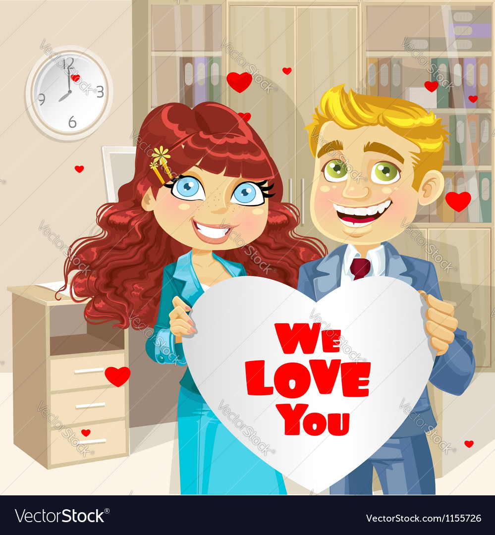 Man and woman in office holding banner heart vector | Price: 1 Credit (USD $1)