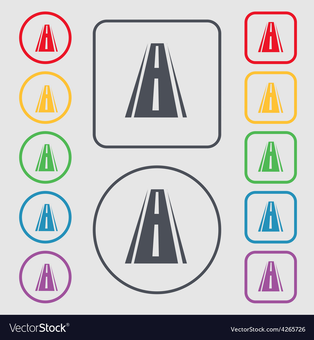 Road icon sign symbol on the round and square vector | Price: 1 Credit (USD $1)
