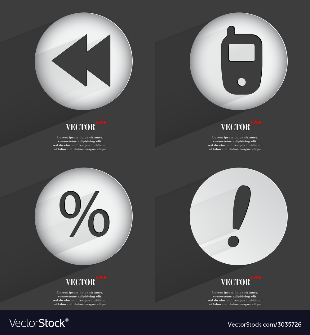 Set of one-color web buttons flat design simple vector | Price: 1 Credit (USD $1)