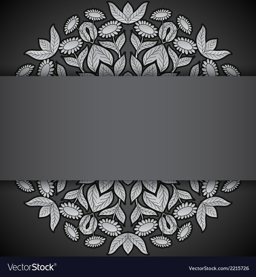 Silver and black round sunflowers invitation vector | Price: 1 Credit (USD $1)