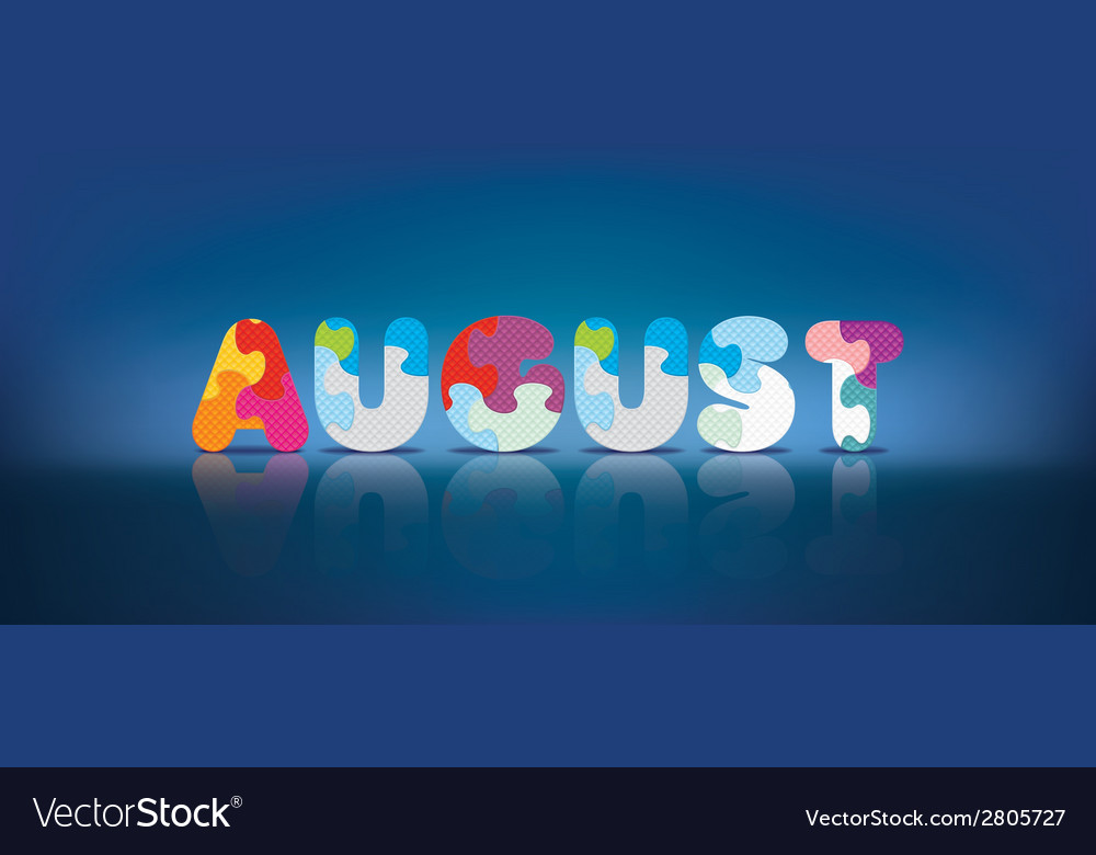 August written with alphabet puzzle vector | Price: 1 Credit (USD $1)