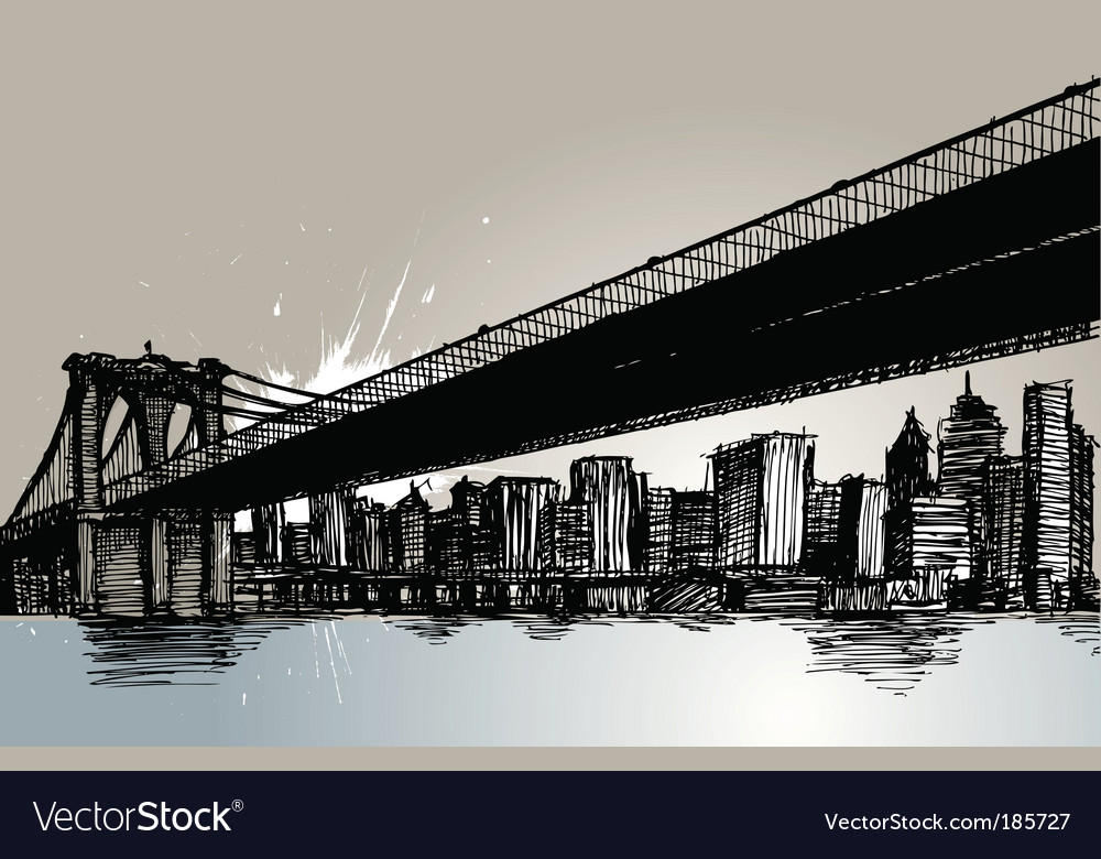 Bridge and city vector | Price: 1 Credit (USD $1)