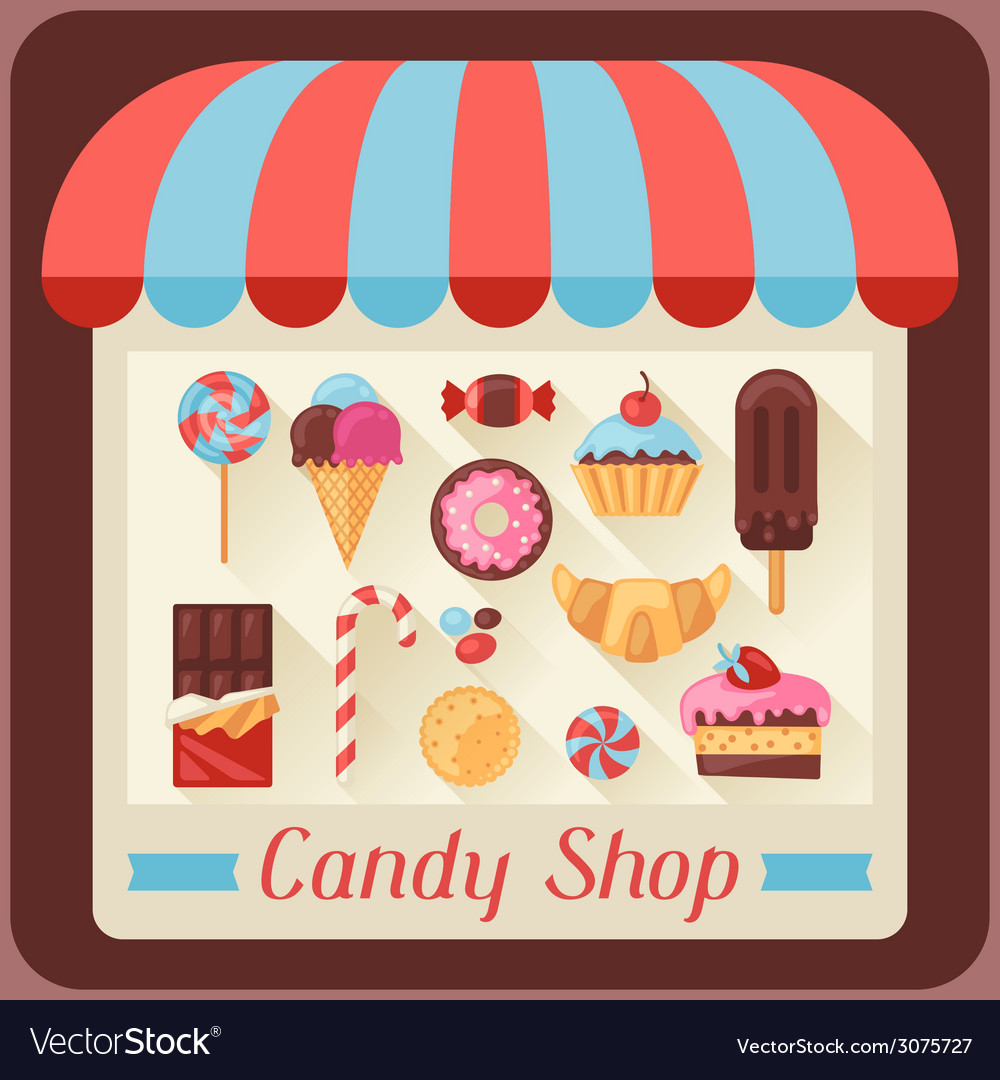 Candy shop background with candy sweets and cakes vector | Price: 1 Credit (USD $1)