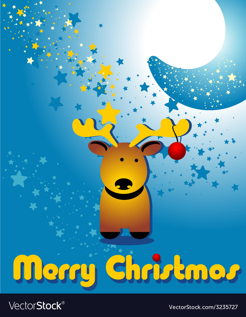 Christmas card with funny deer and moon vector | Price: 1 Credit (USD $1)