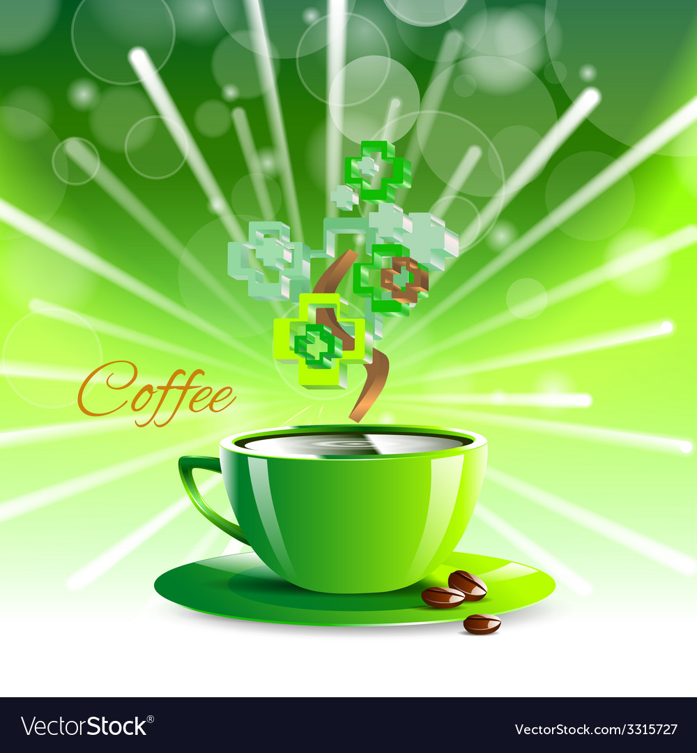 Coffee drink green cup beverage background vector | Price: 1 Credit (USD $1)