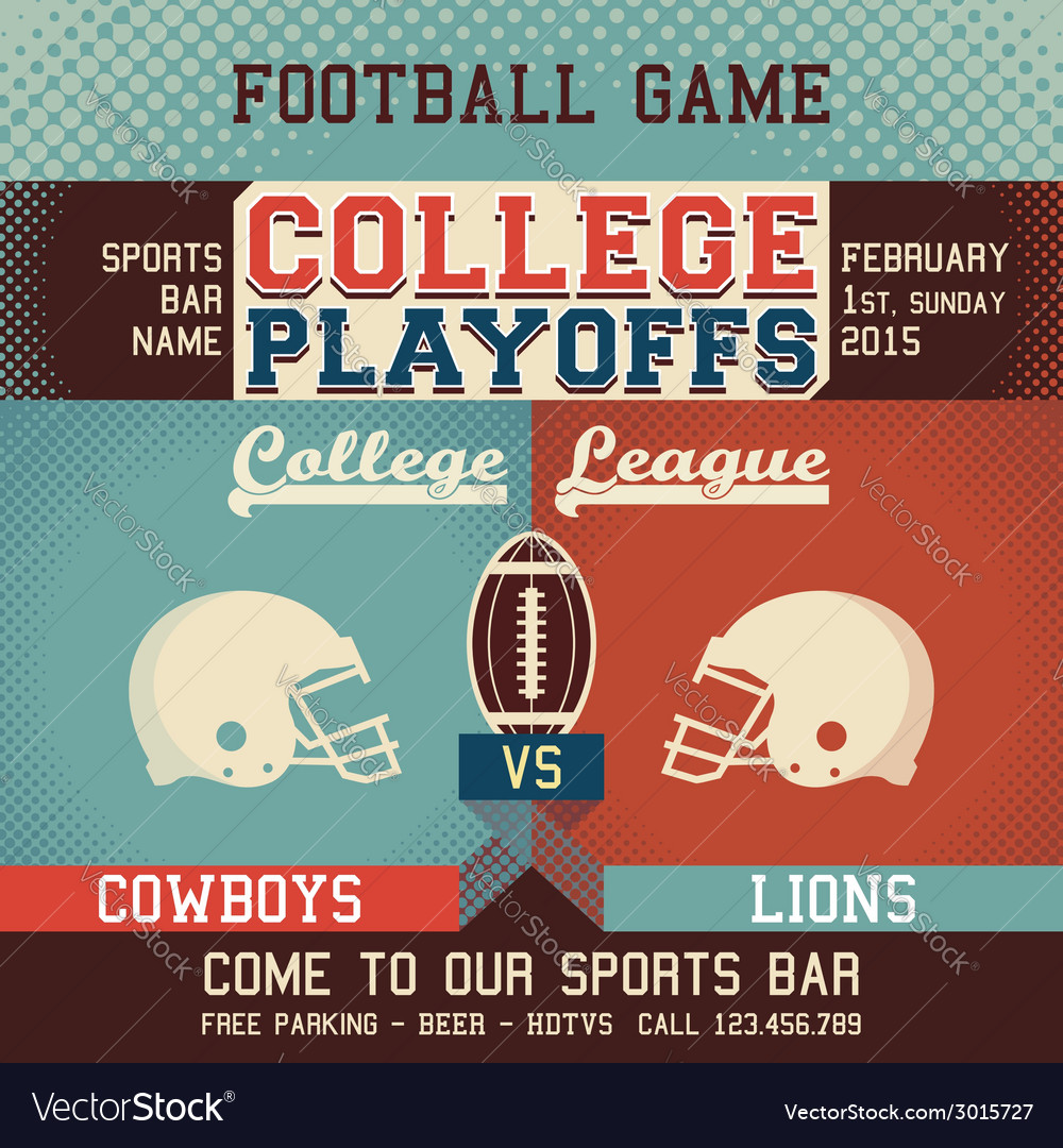 College playoffs football game vector | Price: 1 Credit (USD $1)