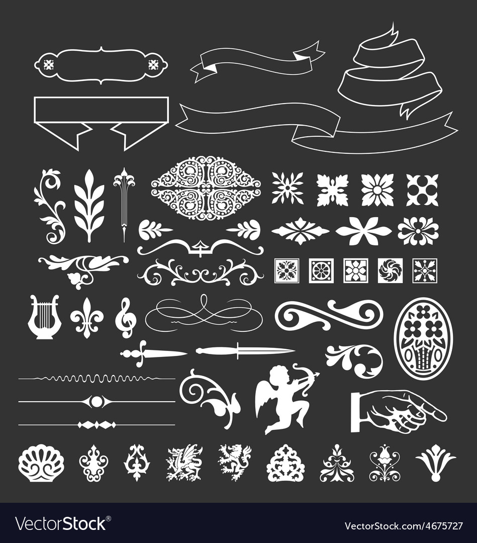 Decorative vintage elements and ribbon set vector | Price: 1 Credit (USD $1)