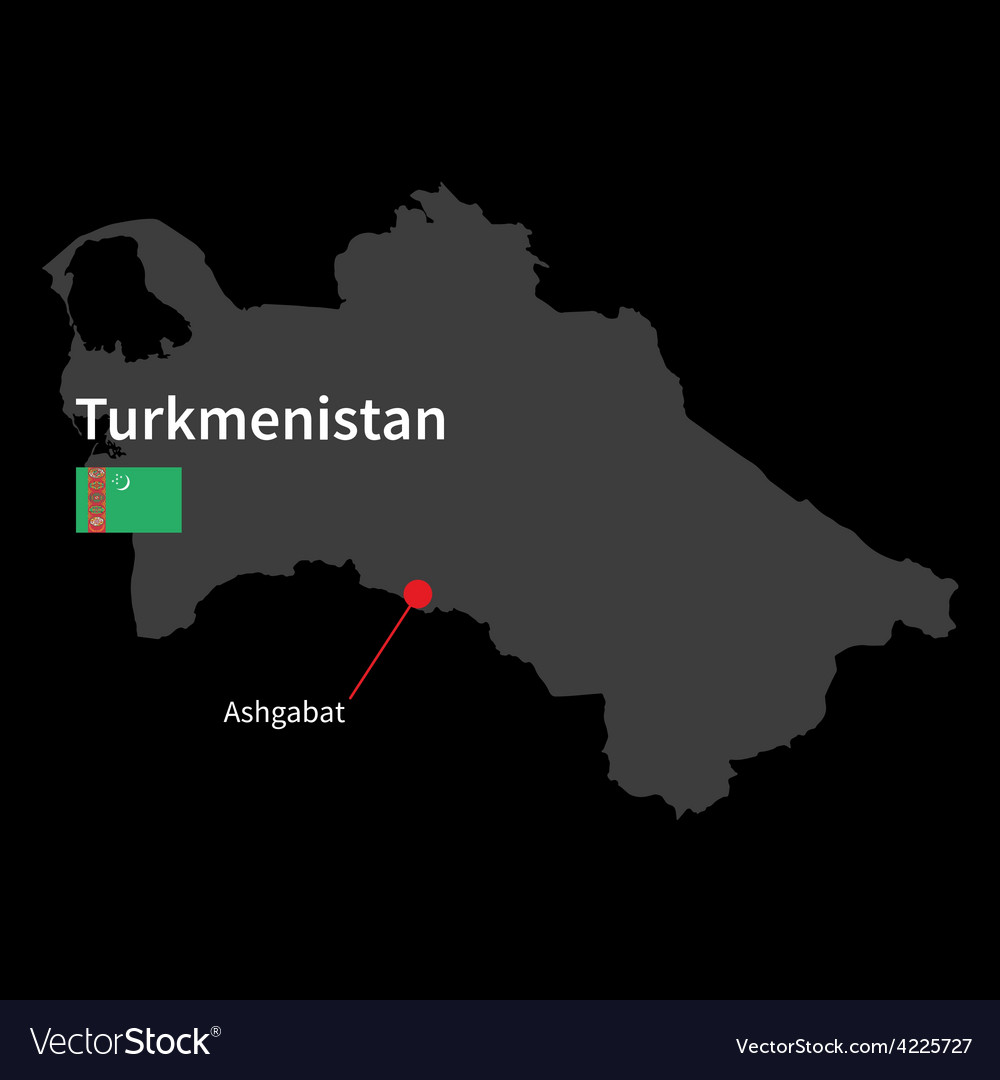 Detailed map of turkmenistan and capital city vector | Price: 1 Credit (USD $1)