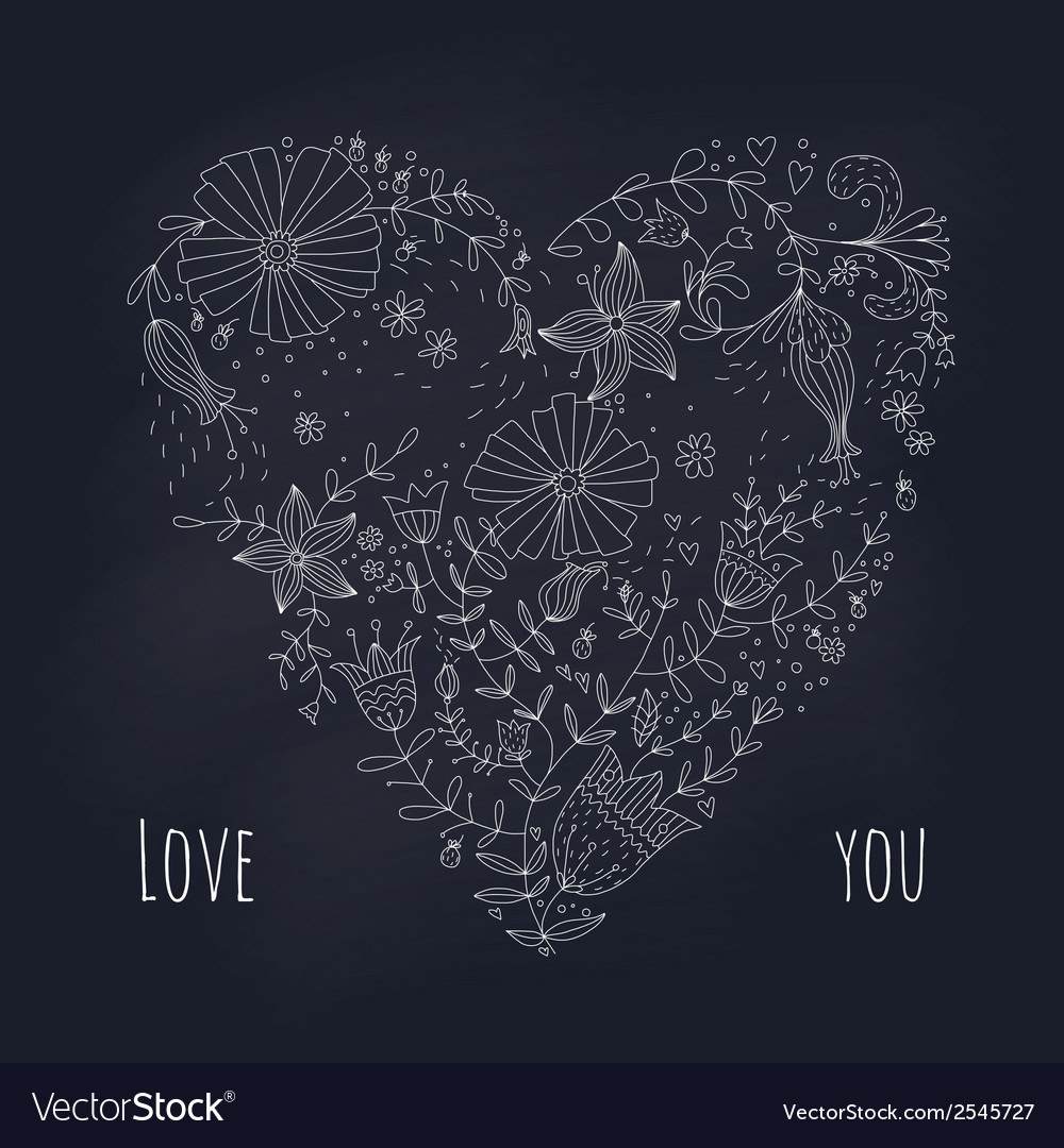 Floral heart on blackboard vector | Price: 1 Credit (USD $1)