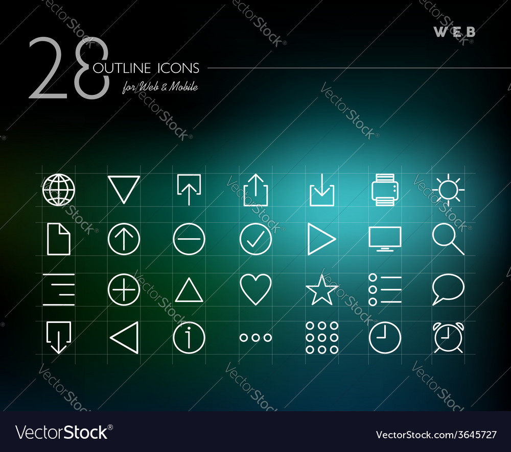 Global web outline icons set vector | Price: 1 Credit (USD $1)