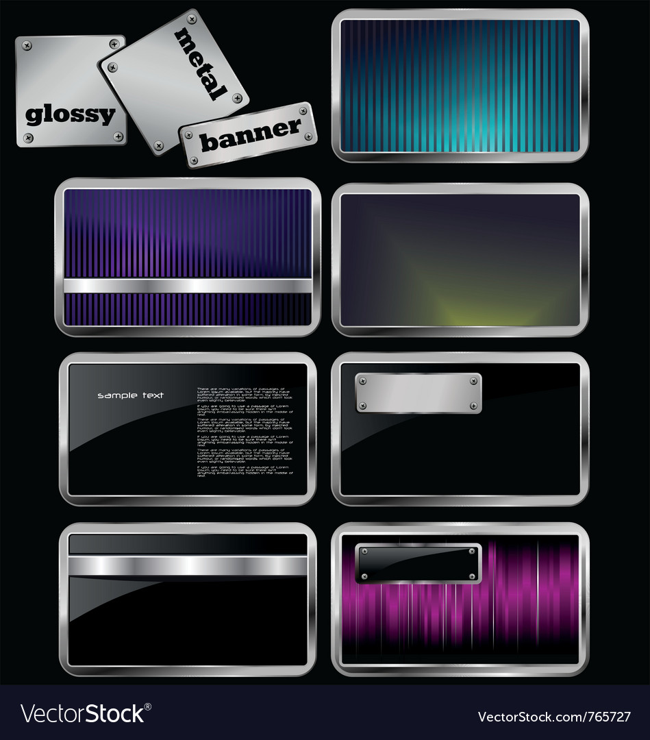 Glossy metal banners vector | Price: 1 Credit (USD $1)