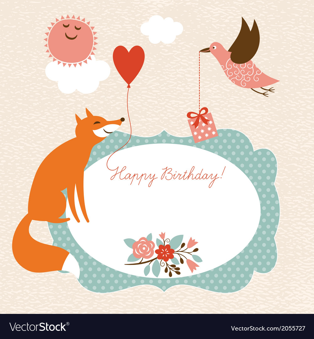 Greeting card  fox and bird vector | Price: 1 Credit (USD $1)