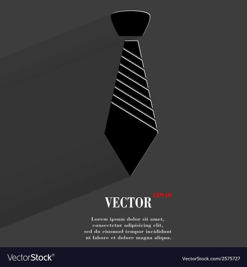 Hipster tie flat modern web button with long vector | Price: 1 Credit (USD $1)
