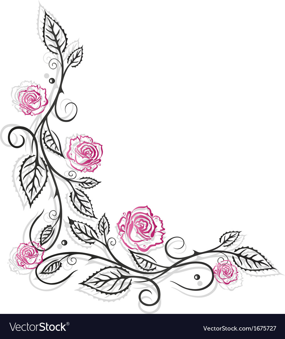 Roses vintage border vector | Price: 1 Credit (USD $1)