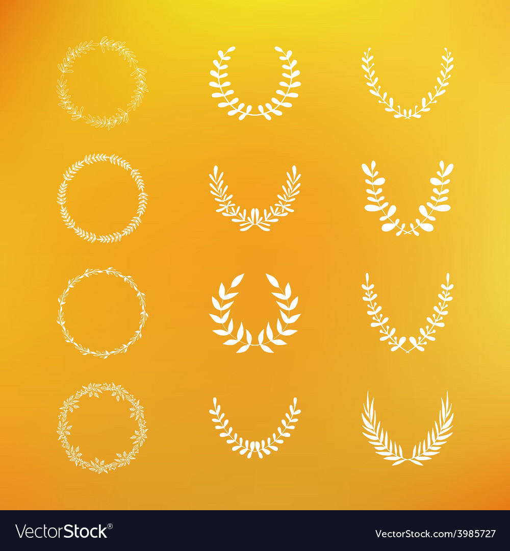 Set of hand drawn laurel and floral wreaths vector | Price: 1 Credit (USD $1)