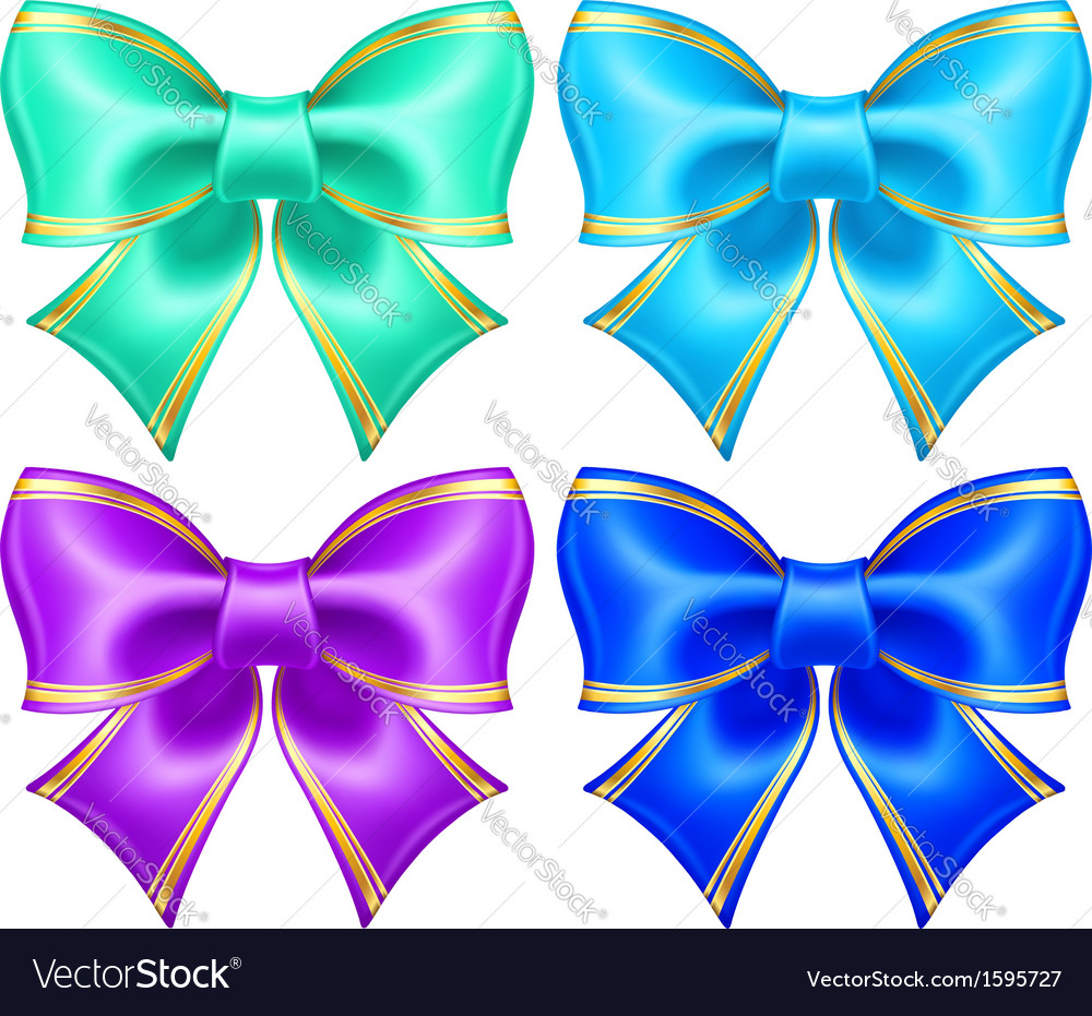Silk bows in cool colors with golden edging vector   Price: 1 Credit (USD $1)