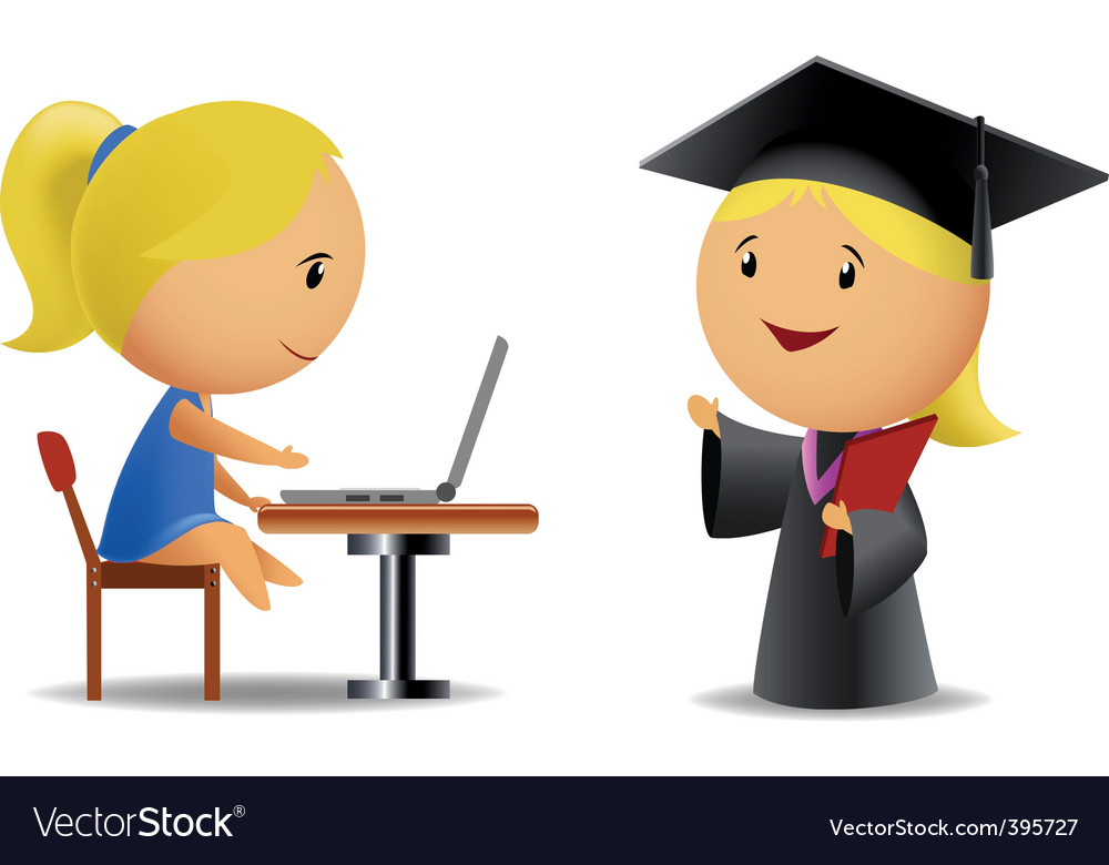 Students computer and diploma vector | Price: 1 Credit (USD $1)