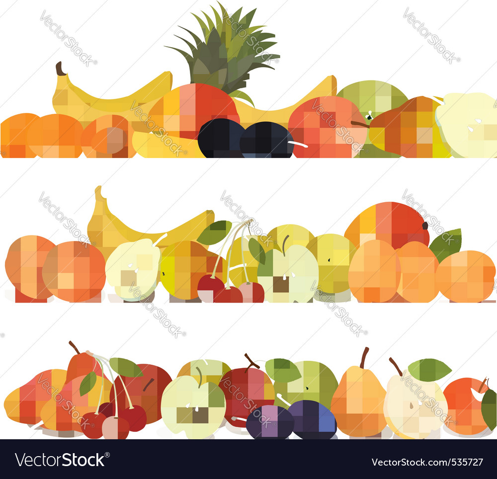 Three fruit design borders vector | Price: 3 Credit (USD $3)