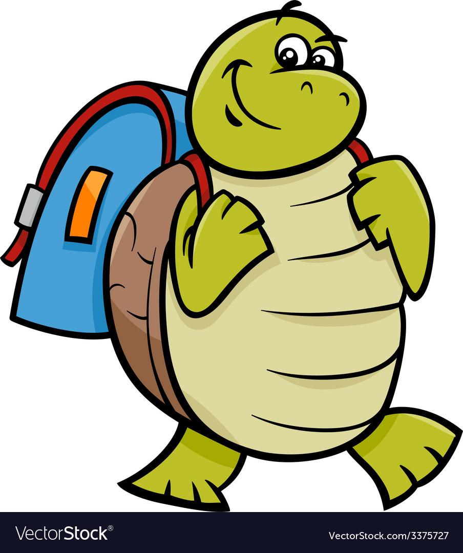 Turtle with satchel cartoon vector | Price: 1 Credit (USD $1)