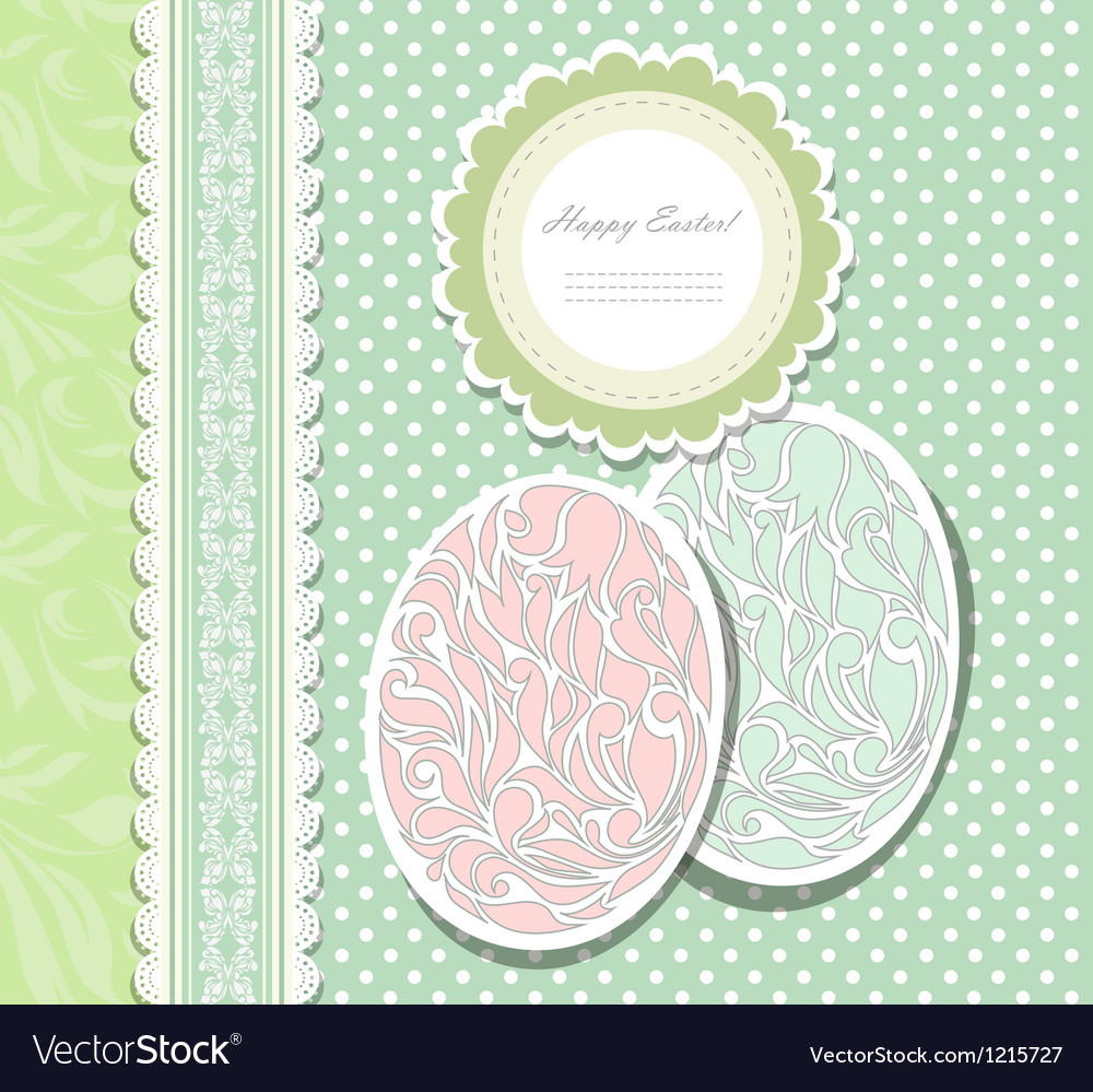 Vintage easter card with eggs vector | Price: 1 Credit (USD $1)