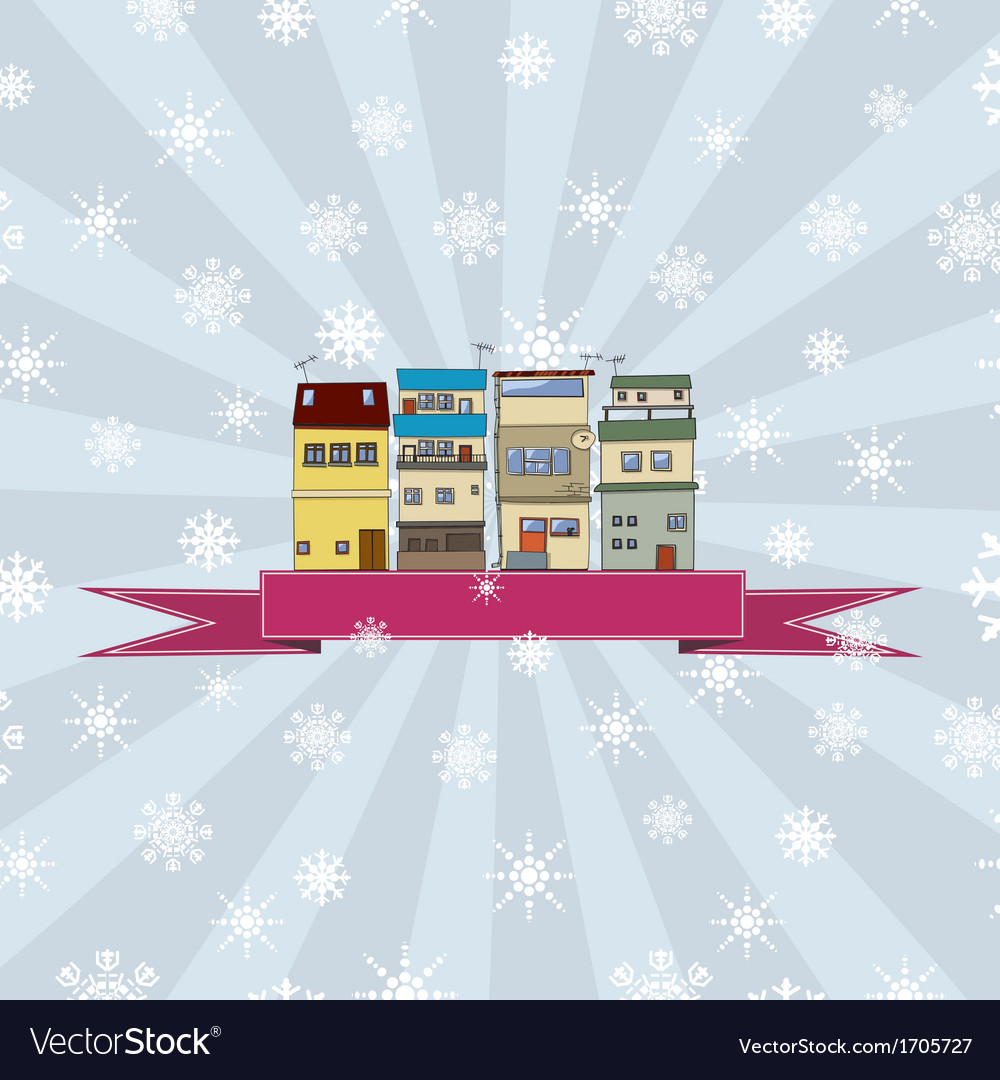 Winter holidays card with houses 2 vector | Price: 1 Credit (USD $1)
