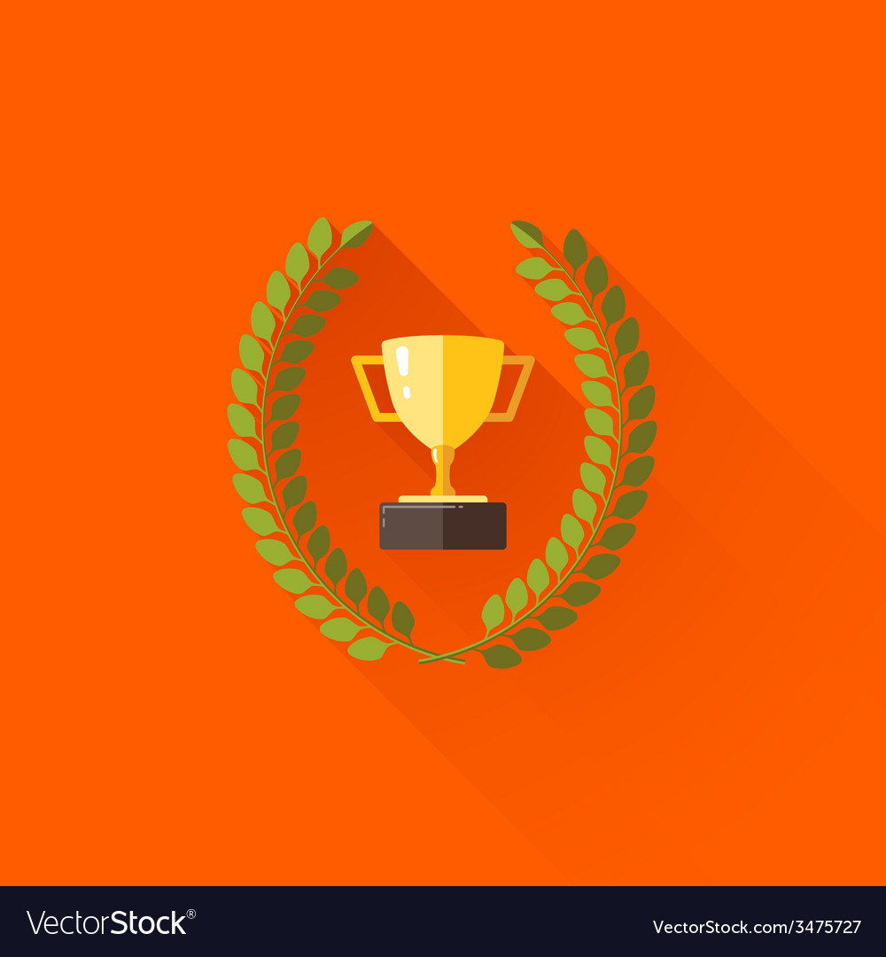 With laurel wreath and champions cup in flat vector | Price: 1 Credit (USD $1)