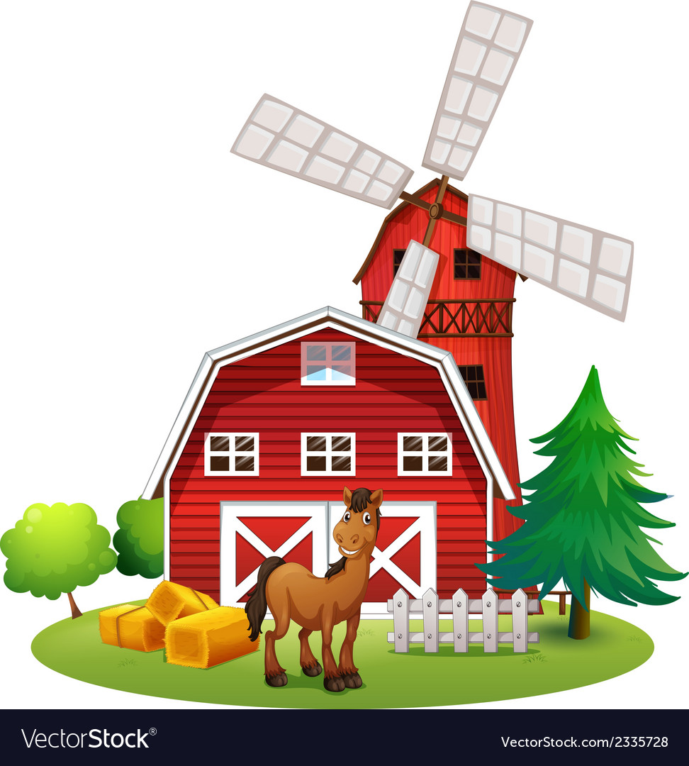 A smiling horse outside the red barnhouse with a vector | Price: 3 Credit (USD $3)