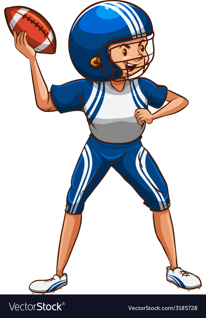An american football player wearing a blue uniform vector | Price: 1 Credit (USD $1)