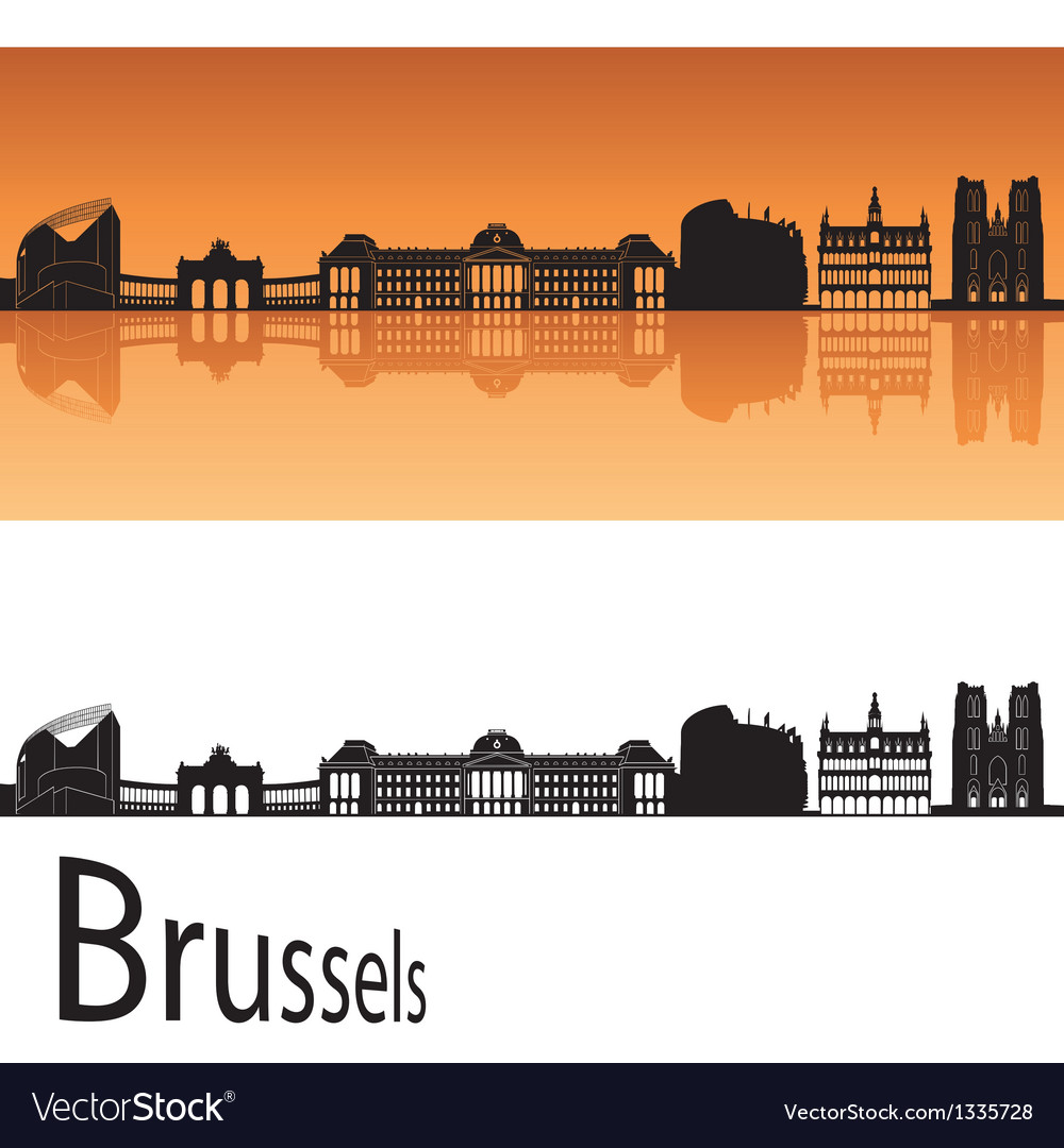 Brussels skyline in orange background vector | Price: 1 Credit (USD $1)