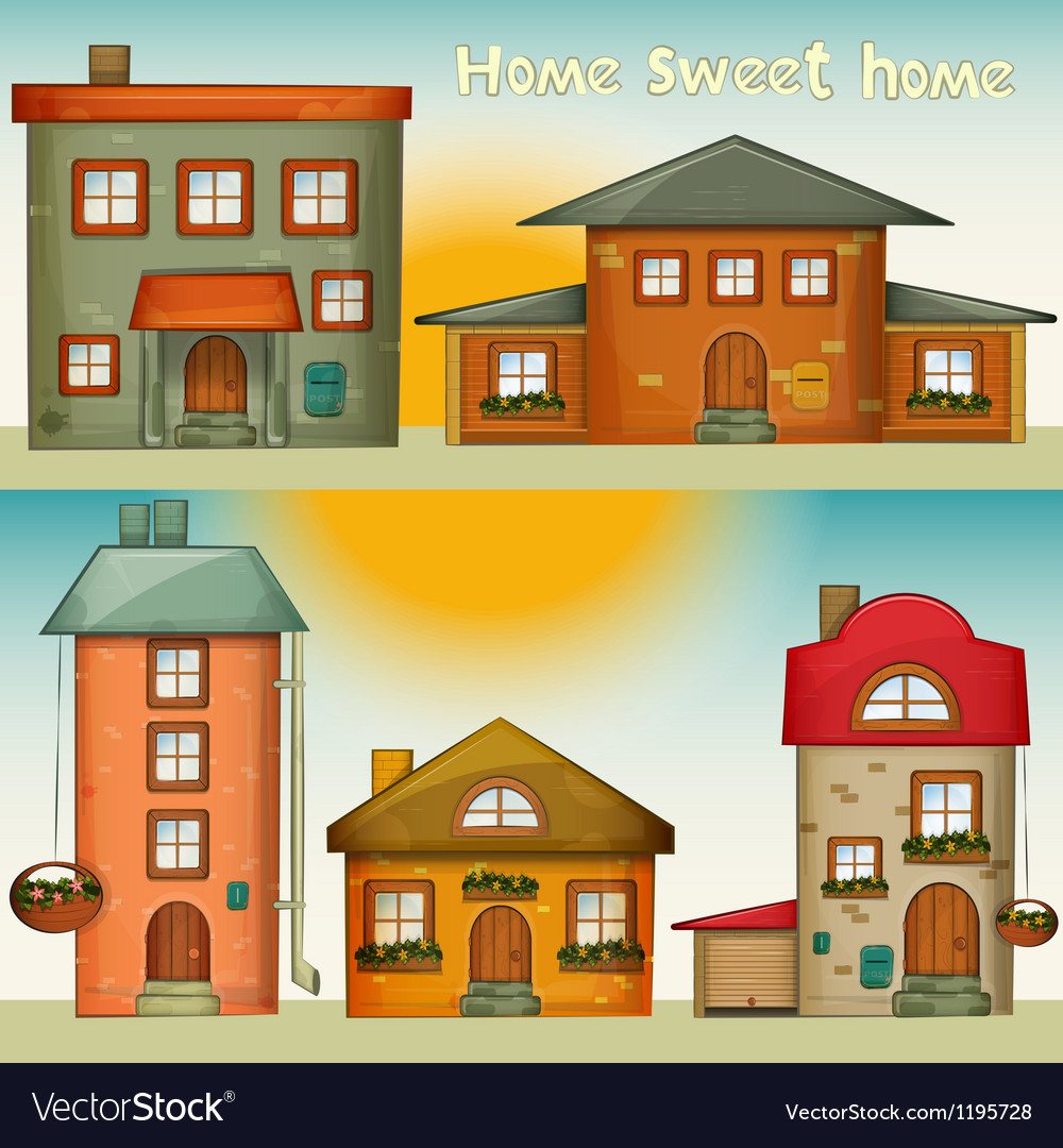 Cartoon houses set vector | Price: 1 Credit (USD $1)