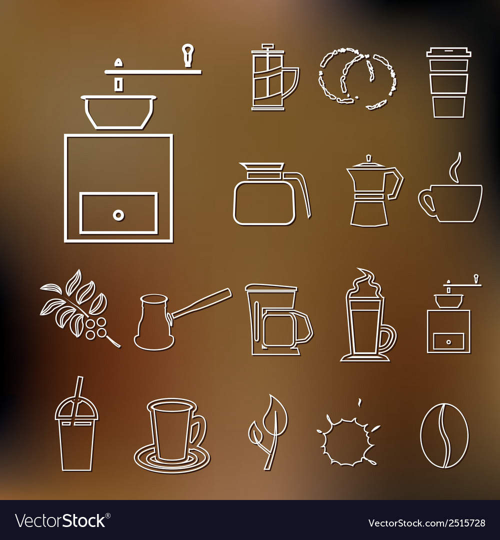 Coffee outline icons vector | Price: 1 Credit (USD $1)