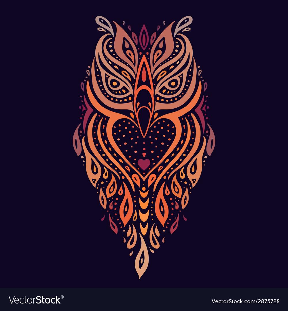 Decorative owl ethnic pattern vector | Price: 1 Credit (USD $1)