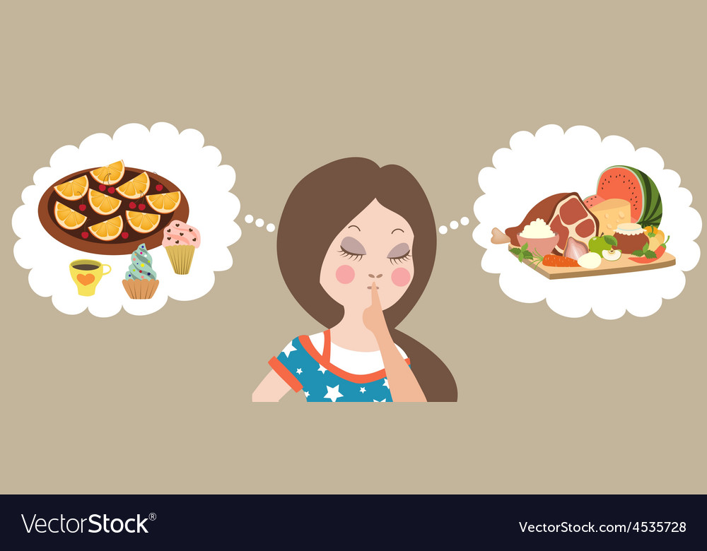 Healthy or junk food choice beautiful woman vector | Price: 1 Credit (USD $1)