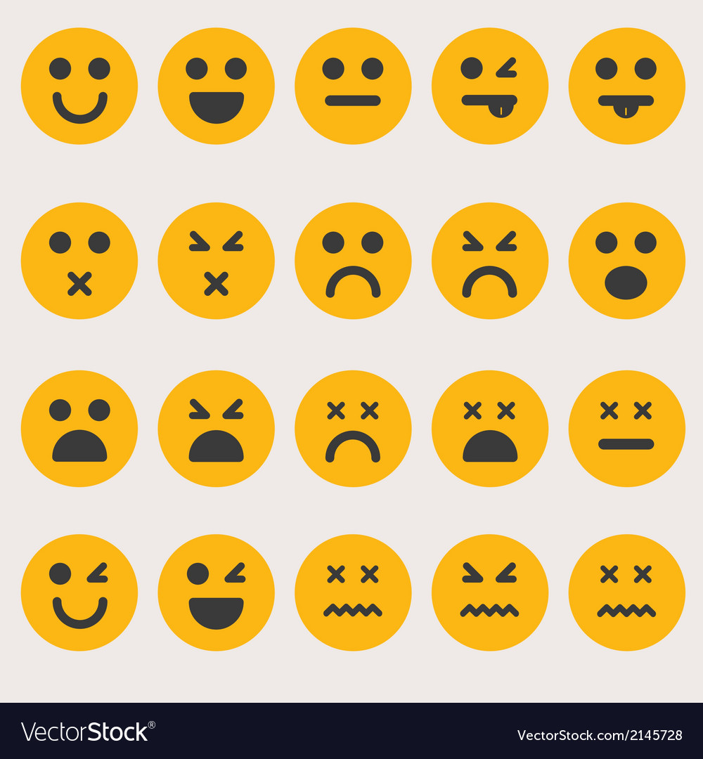 Set smileys emoticons vector | Price: 1 Credit (USD $1)