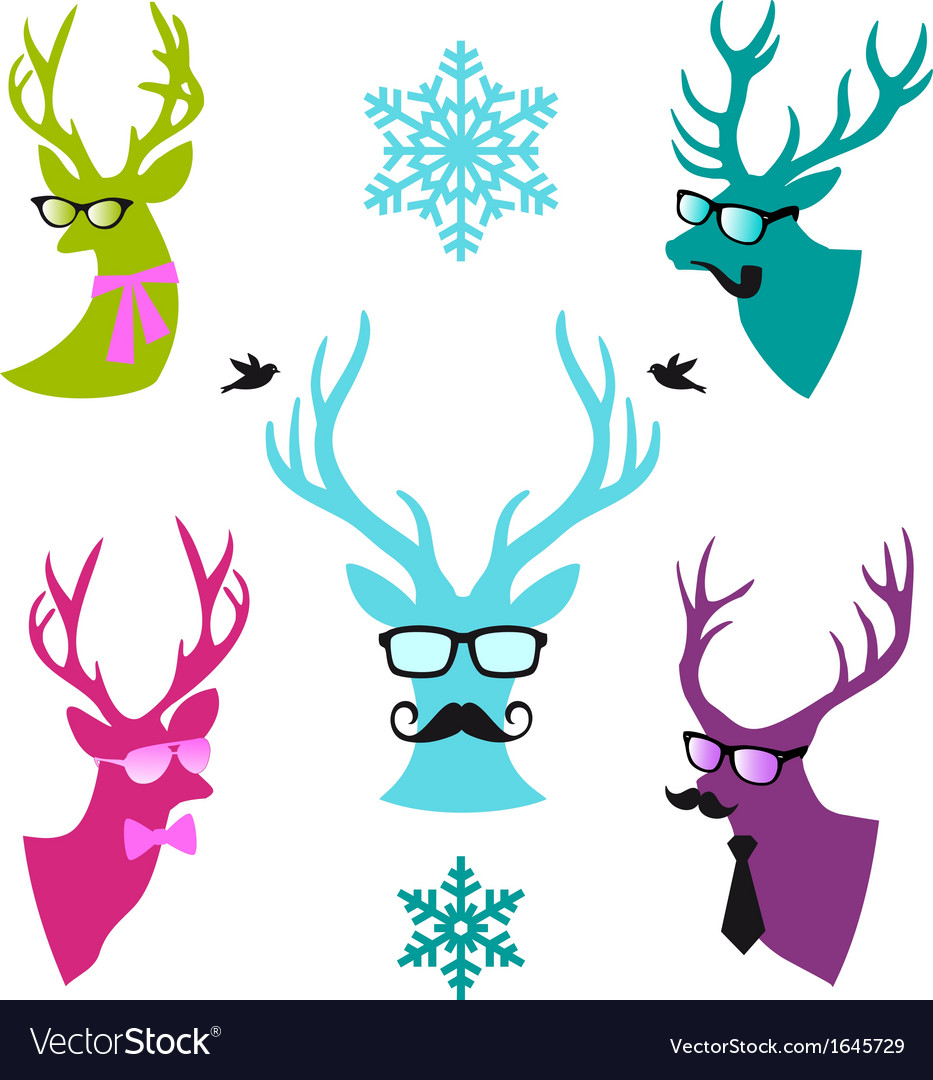 Christmas deer heads set vector | Price: 1 Credit (USD $1)