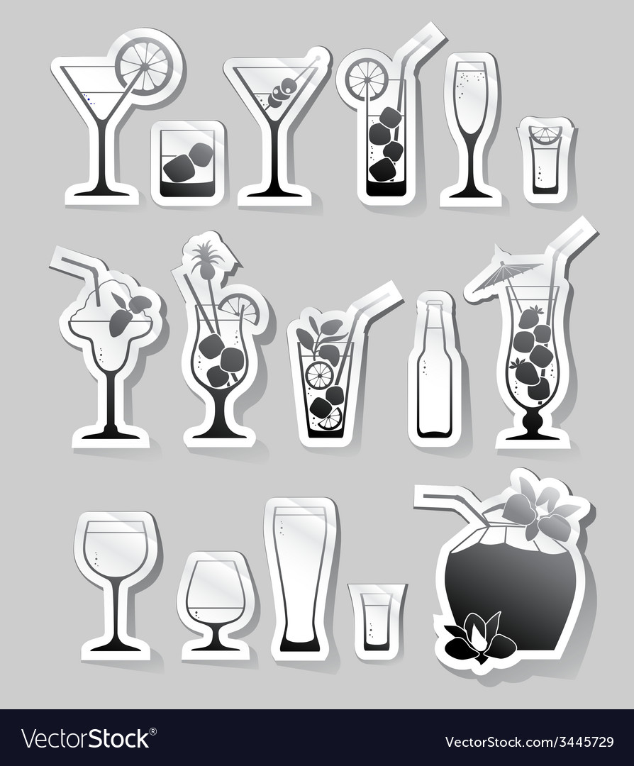 Cocktails and glasses with alcohol on stickers vector | Price: 1 Credit (USD $1)