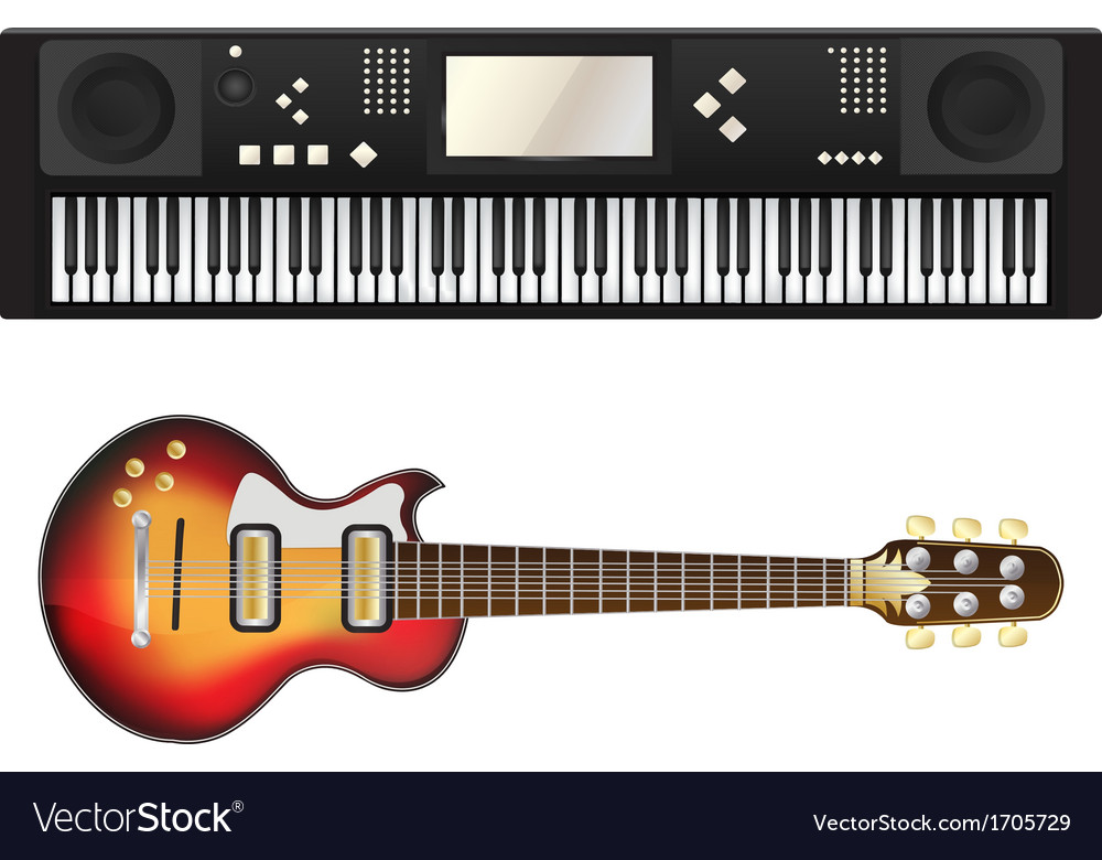 Electric guitar and synthesizer vector | Price: 1 Credit (USD $1)