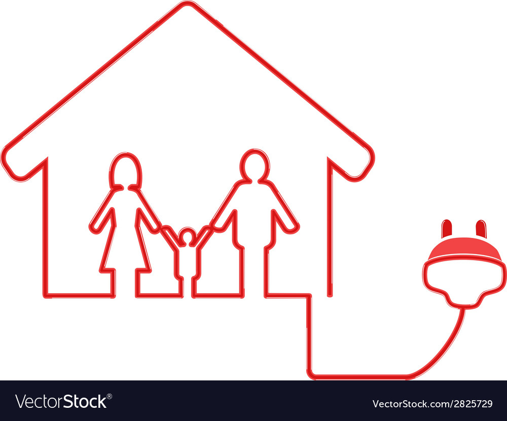 Electrical plug symbol with family house vector | Price: 1 Credit (USD $1)
