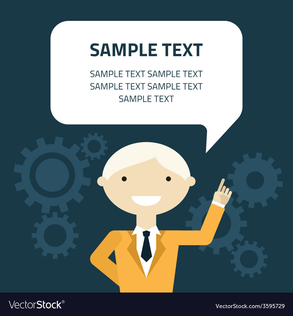 Flat design of businessman with message bubb vector | Price: 1 Credit (USD $1)