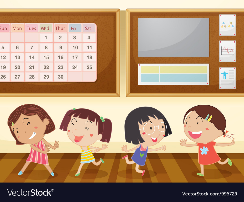 Girls in classroom vector | Price: 3 Credit (USD $3)