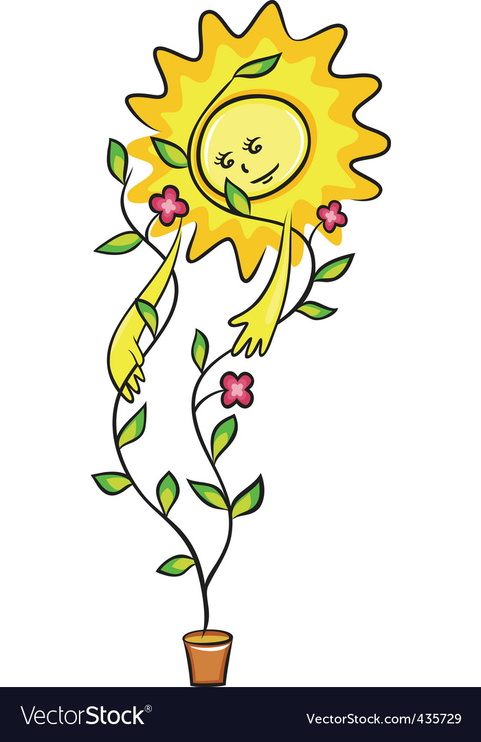 Plant and sun vector | Price: 1 Credit (USD $1)
