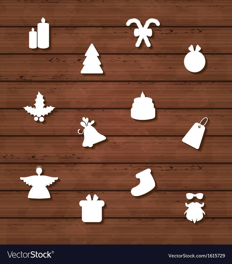 Set christmas design elements on wooden texture vector | Price: 1 Credit (USD $1)