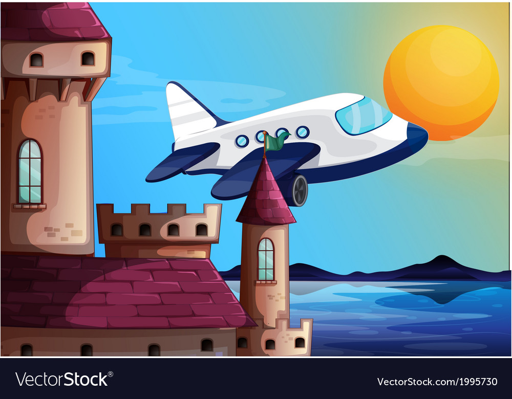 An airplane near the castle vector | Price: 3 Credit (USD $3)