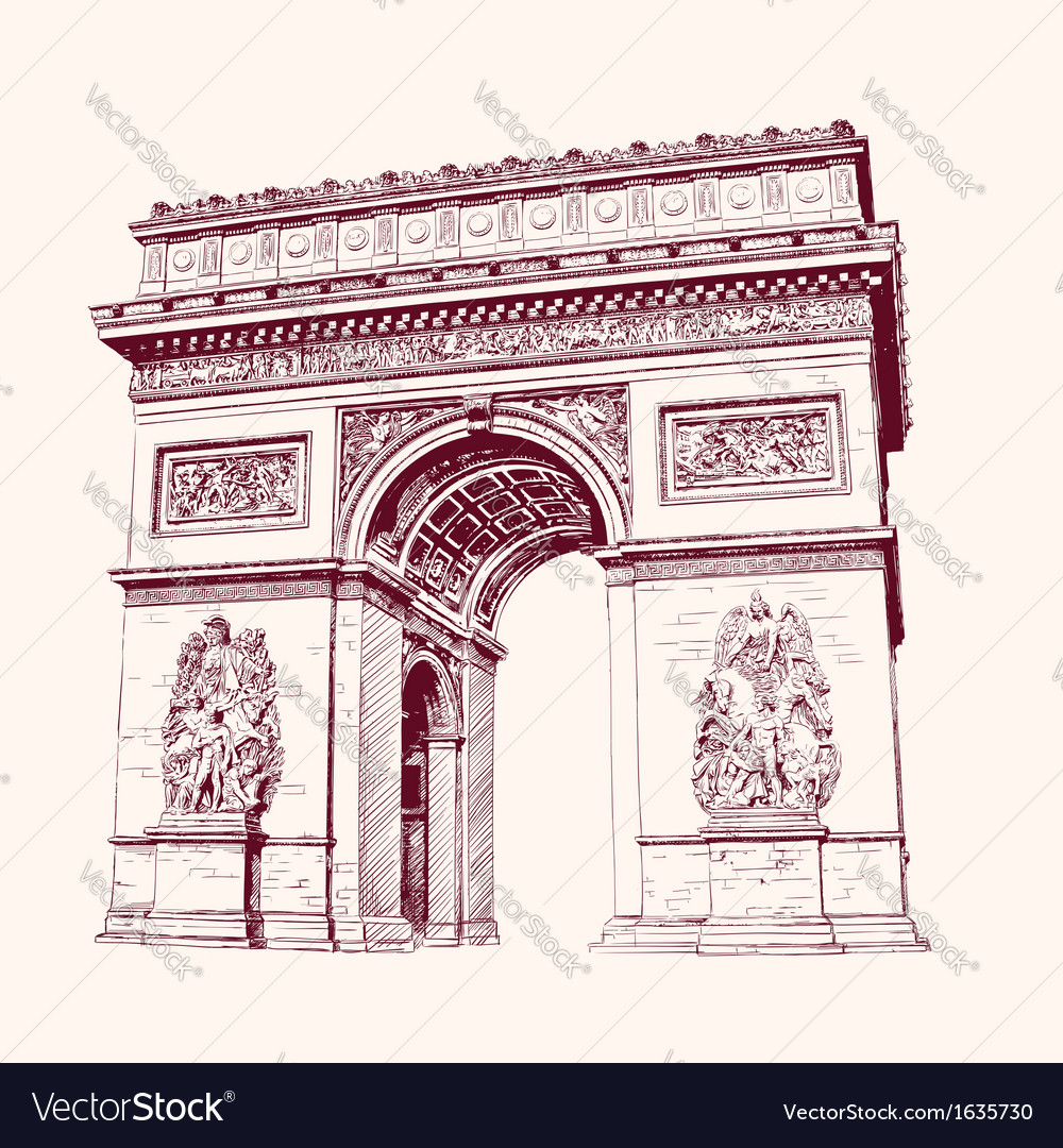 Arch of triumph paris hand drawn vector | Price: 1 Credit (USD $1)